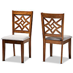 Baxton Studio™ Cait Upholstered Dining Chairs in Walnut/Grey (Set of 2)