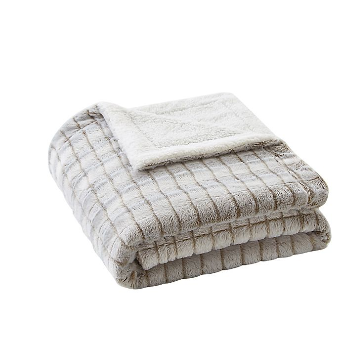 Alternate image 1 for VCNY home Jessica Carved Faux Fur Throw Blanket in Taupe