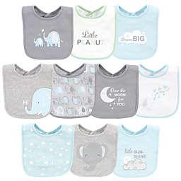 Luvable Friends® 10-Pack Elephant Cotton Drooler Bibs in Blue