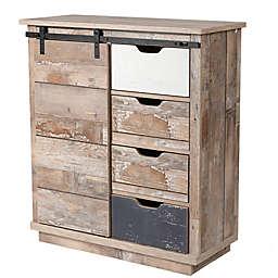 Luxen Home Rustic Wood Cabinet with Sliding Door