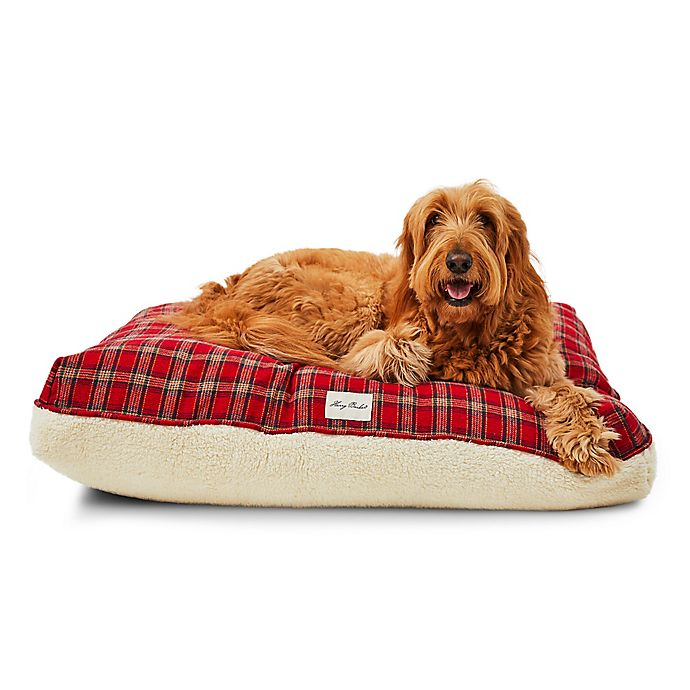 Alternate image 1 for Harry Barker® Plaid Sherpa Rectangle Dog Bed in Red