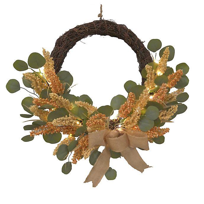 Alternate image 1 for 15-Inch LED Faux Eucalyptus Fall Half Wreath