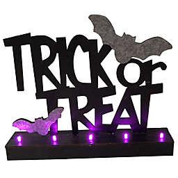 LED Trick Or Treat Bat Table Decor in Black/Purple