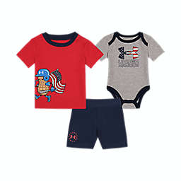 Under Armour® Size 0-3M 2-Piece Flag Homerun Shirt, Bodysuit, and Short Set in Grey/Red