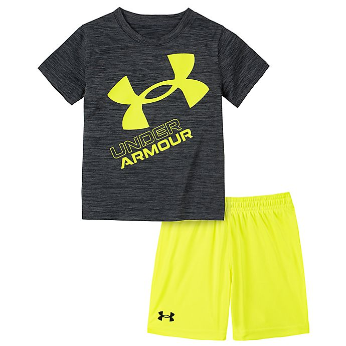 Alternate image 1 for Under Armour® 2-Piece Twist Slanted Logo Shirt and Short Set in Grey