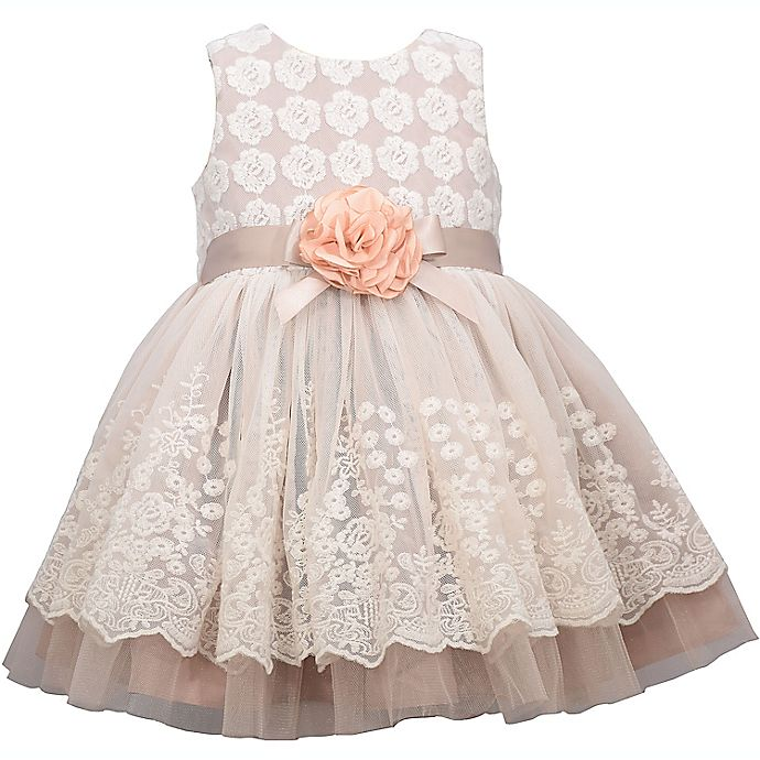 Alternate image 1 for Bonnie Baby Lace Overlay Dress in Taupe
