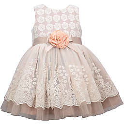 Bonnie Baby Lace Overlay Dress in Taupe