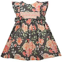 Bonnie Baby Floral Smock Dress in Grey