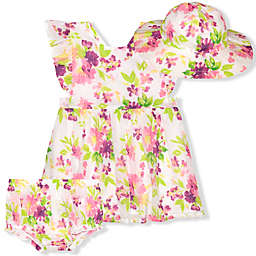 Nannette Baby® 3-Piece Floral Woven Dress, Diaper Cover and Hat Set