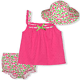 Nannette Baby® 3-Piece Swiss Dot Dress, Diaper Cover and Hat Set in Pink
