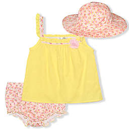 Nannette Baby® 3-Piece Swiss Dot Dress, Diaper Cover and Hat Set in Yellow