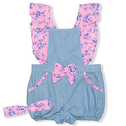 Nannette Baby® 2-Piece Pink Ruffles Romper and Headband Set in Chambray