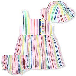 Nannette Baby® 3-Piece Stripe Dress, Diaper Cover, and Hat Set