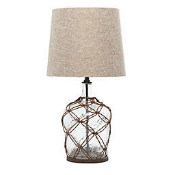 Ridge Road Décor Coastal Glass Table Lamp in Brown with Linen Shade