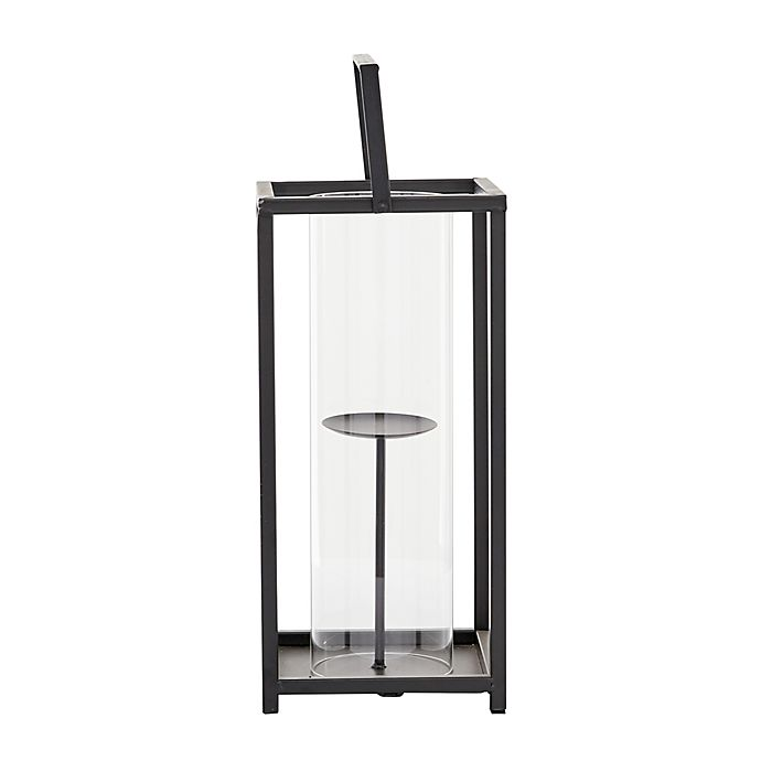 Alternate image 1 for Ridge Road Décor Contemporary Iron 20-Inch Lantern Candle Holder in Black