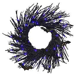 22-Inch LED Halloween Wreath in Black/Purple
