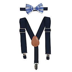 Toby Fairy™ Newborn 2-Piece Benji Plaid Bow Tie and Suspender Set in Navy