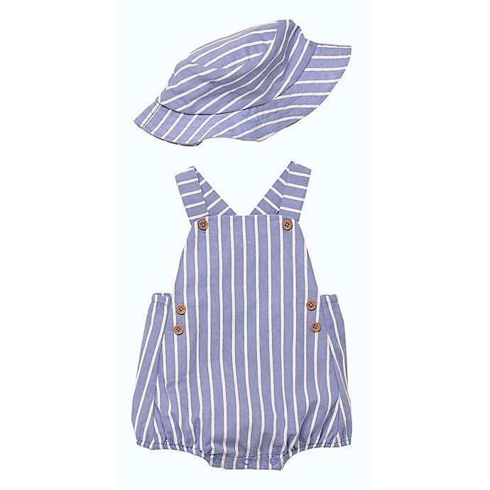 Alternate image 1 for Baby Starters® 2-Piece Chambray Romper & Bucket Hat Set in Blue