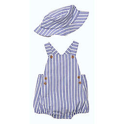 Baby Starters® 2-Piece Chambray Romper & Bucket Hat Set in Blue