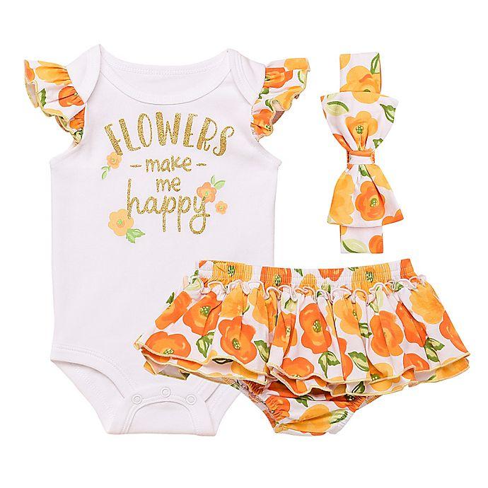 Alternate image 1 for Baby Starters® Newborn Flowers Make Me Happy Bodysuit, Diaper Pant and Headband Set in Orange