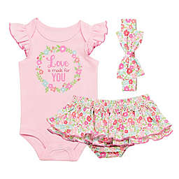 Baby Starters® Size 3M 3-Piece Love is Made for You Bodysuit, Diaper Pant and Headband Set