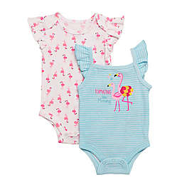 Baby Starters® Size 6M 2-Pack Flamingo Mommy Bodysuits in White/Blue