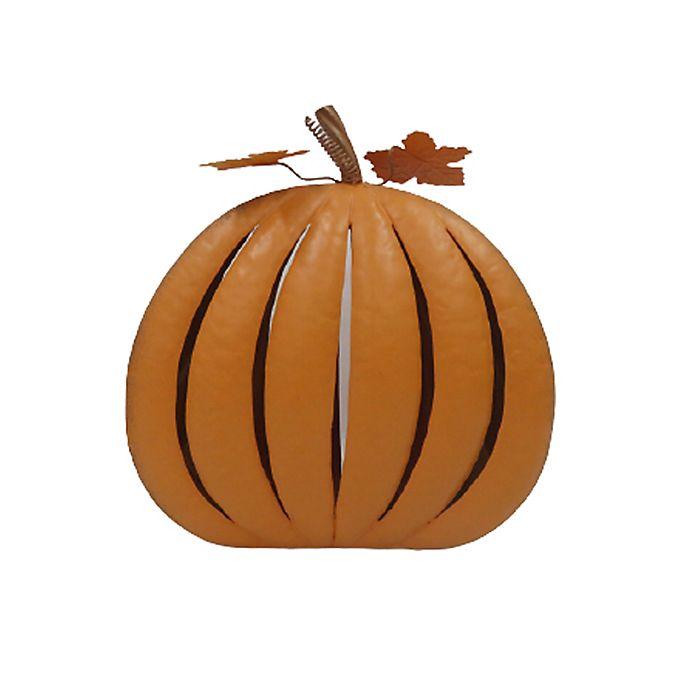 Alternate image 1 for 13.5-Inch Medium Indoor/Outdoor Metal Pumpkin in Orange