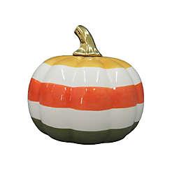Striped 7.8-Inch Ceramic Pumpkin