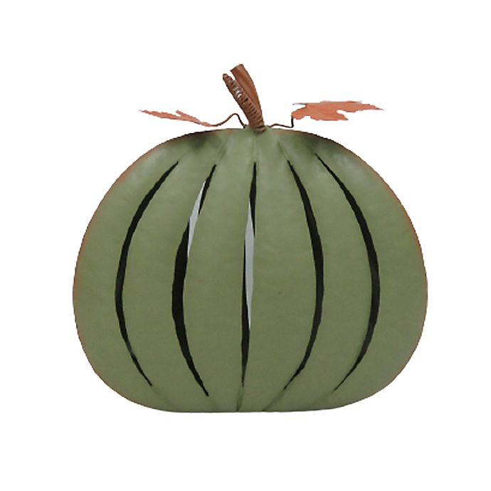Alternate image 1 for Small Indoor/Outdoor Metal Pumpkin Decoration in Green