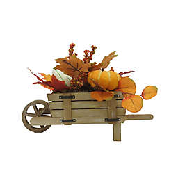 Fall Harvest 16-Inch Wood Wheel Barrow Decoration with Floral