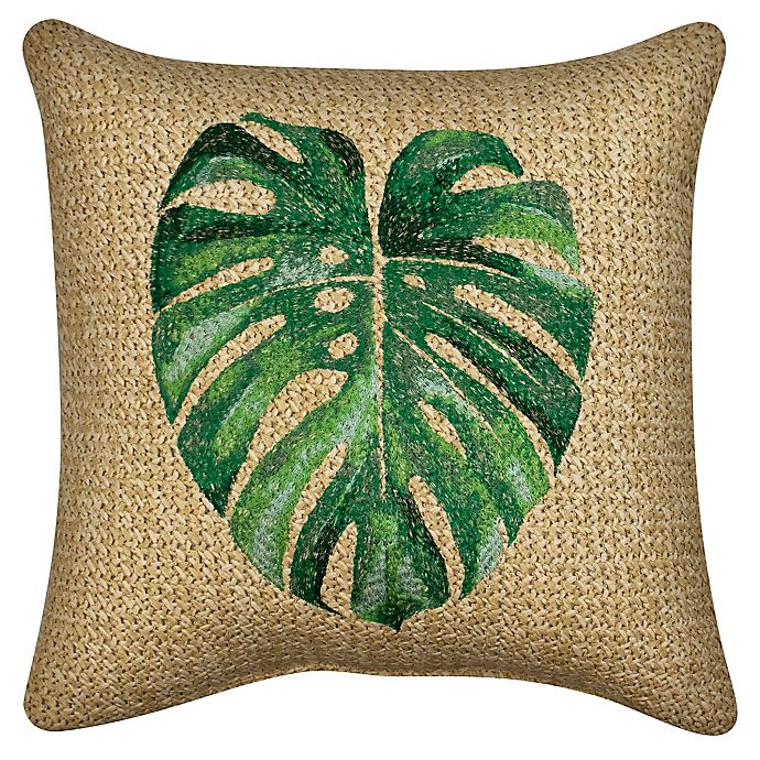Alternate image 1 for W Home™ Raffia Palm Leaf  Indoor/Outdoor Square Thow Pillow in Tan