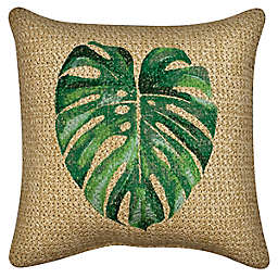 W Home™ Raffia Palm Leaf  Indoor/Outdoor Square Thow Pillow in Tan