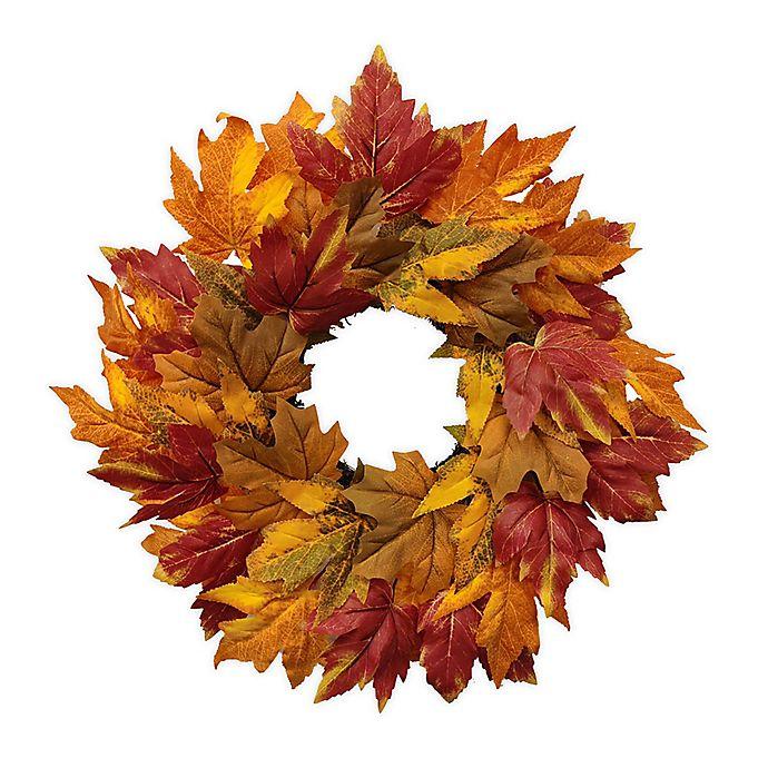 Alternate image 1 for 18-Inch Full Bloom Mini Fall Leaves Harvest Wreath