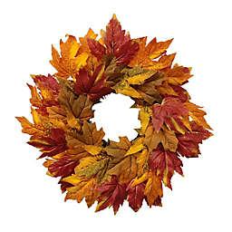 18-Inch Full Bloom Mini Fall Leaves Harvest Wreath
