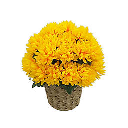 18-Inch Artificial Chrysanthemum in Yellow with Woven Vinyl Pot