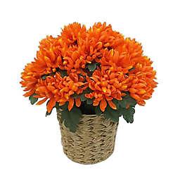 18-Inch Artificial Chrysanthemum in Orange with Woven Vinyl Pot