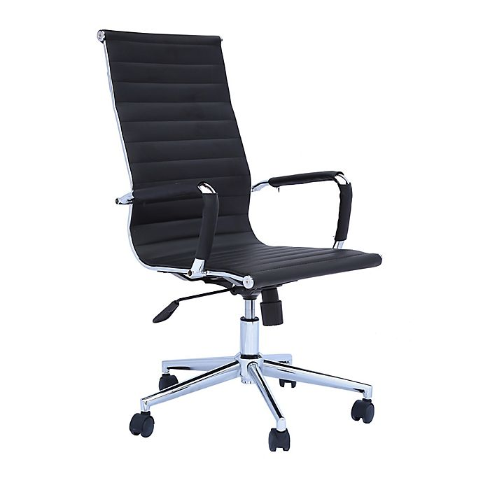 Alternate image 1 for The Urban Port Ribbed Leatherette Office Chair in Black/Chrome