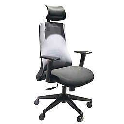 The Urban Port Adjustable Headrest Swivel Office Chair in Black/Grey