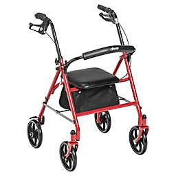 Drive Medical 4-Wheel Walker Rollator in Red