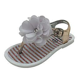Stepping Stones Size 4 Flower Jelly Sandal in Rose Gold/White