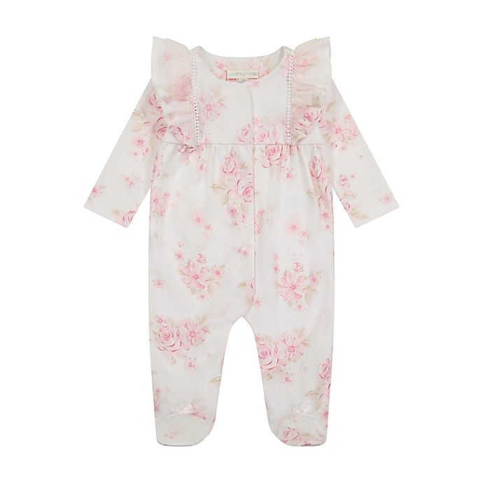 Alternate image 1 for Clasix Beginnings™ by Miniclasix® Floral Printed Footie in Ivory