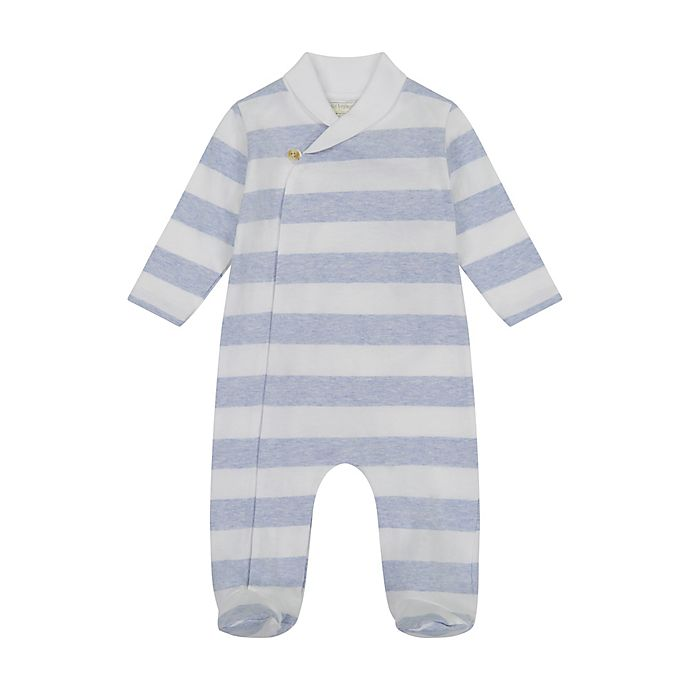 Alternate image 1 for Clasix Beginnings™ by Miniclasix® Preemie Striped Footed Coverall in Heather Blue
