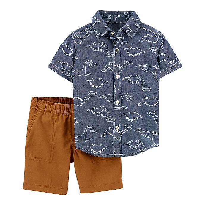 Alternate image 1 for carter's® Size 6M 2-Piece Dinosaur Short Sleeve Shirt and Short Set in Blue/Khaki