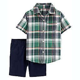carter's® Newborn 2-Piece Plaid Short Sleeve Shirt and Short Set in Green