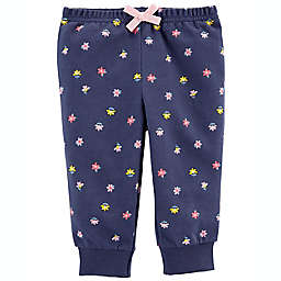 carter's® Floral Pull-On French Terry Pants in Navy