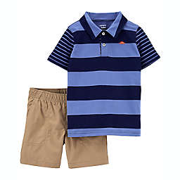carter's® 2-Piece Playwear Short Sleeve Polo and Short Set in Navy