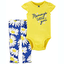 "carter's® 2-Piece ""Mommy's Little Girl"" Bodysuit and Pant Set in Yellow/Blue"