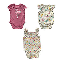 Sterling Baby 3-Pack Pink Flamingo Bodysuits in Pink/Cream