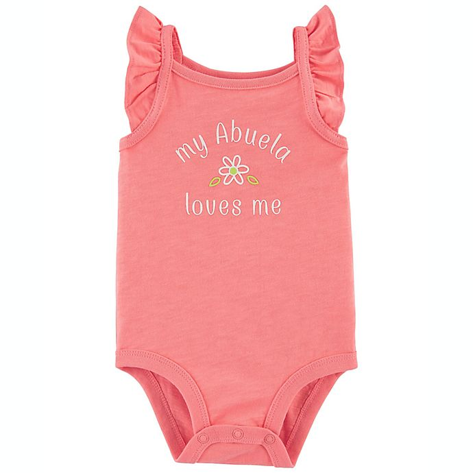 Alternate image 1 for carter's® Size 3M Abuela Loves Me Flutter Sleeve Bodysuit in Coral