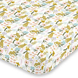 NoJo® Cheetah Flower Fitted Crib Sheet in Yellow